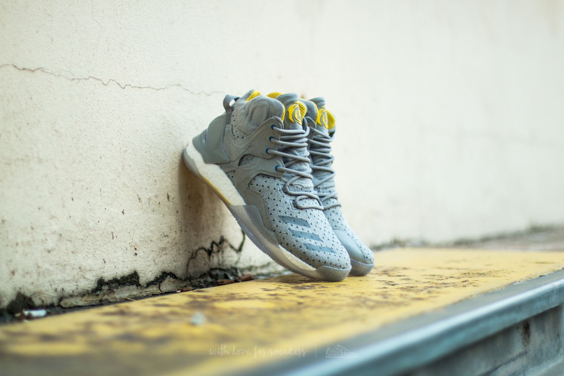 adidas Consortium x Sneakersnstuff D Rose 7 Primeknit Grey/ Core Yellow