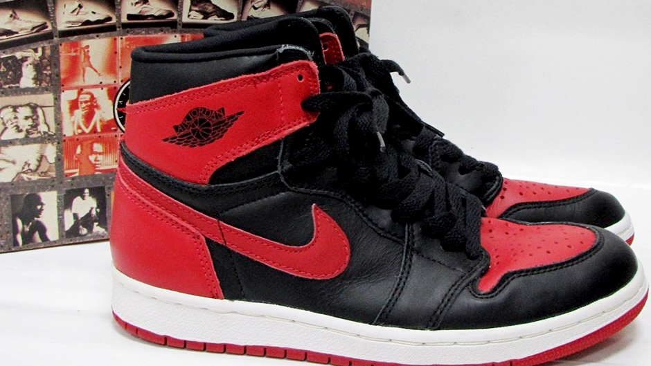 A close-up view of the first Air Jordan 1 release