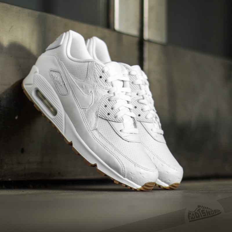 buty nike air max 90 leather all white kids