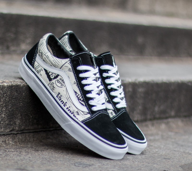 Leather Denim Old Skool Shoes White
