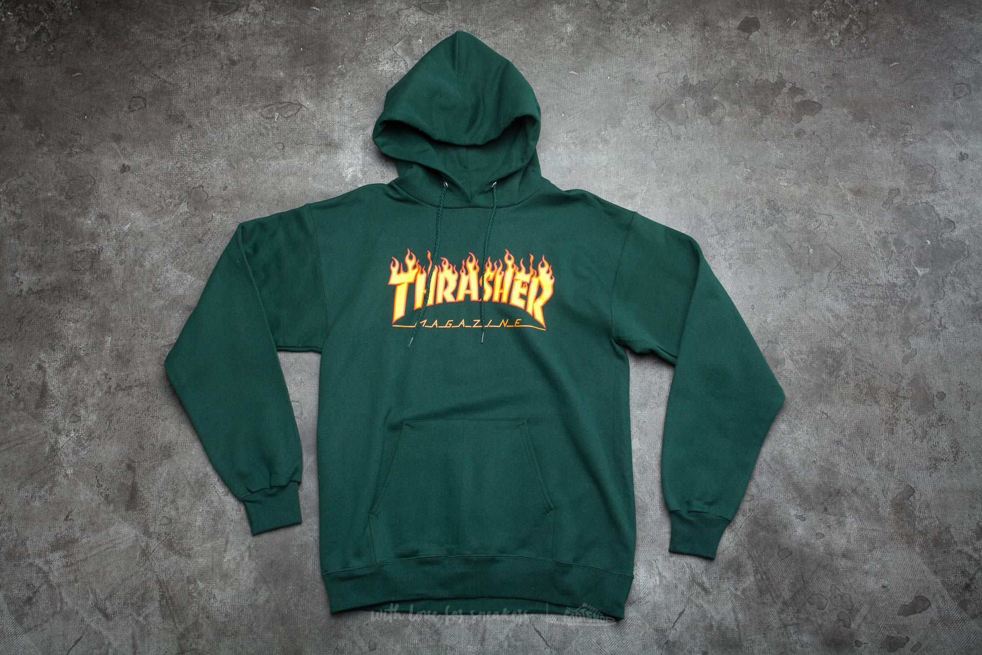 Thrasher Flame Logo Hoodie Forest Green
